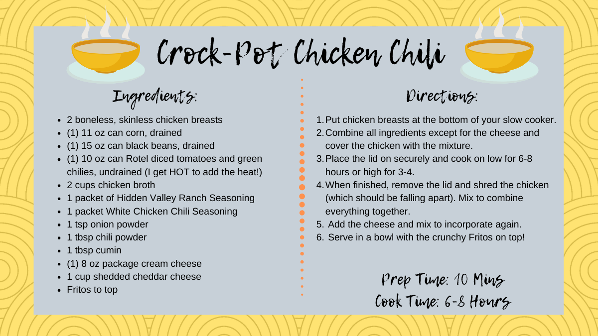 Homemade crock-pot chicken chili is the easiest on the go meal for comfort food or cold nights.