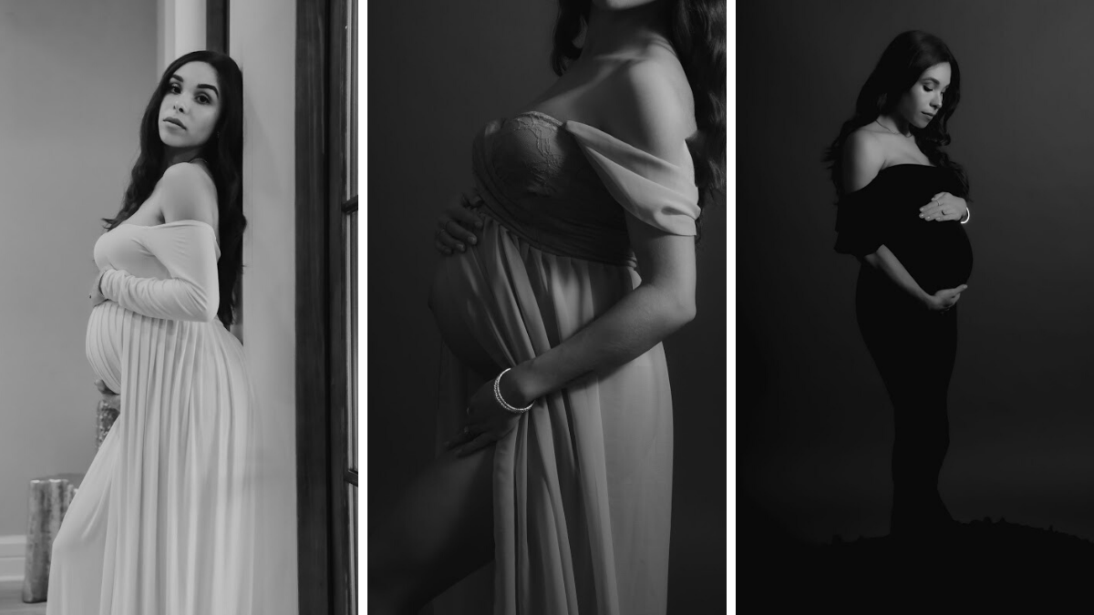 A gorgeous black and white maternity photoshoot.